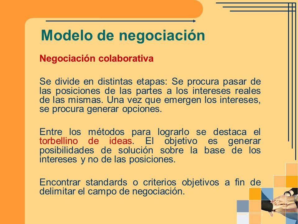 Modelo de negociación Negociación colaborativa Se divide en distintas etapas: Se procura pasar de las posiciones de las partes a los intereses reales