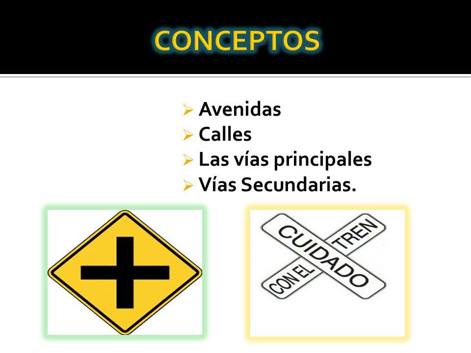 Avenidas Calles Las vías principales Vías Secundarias.