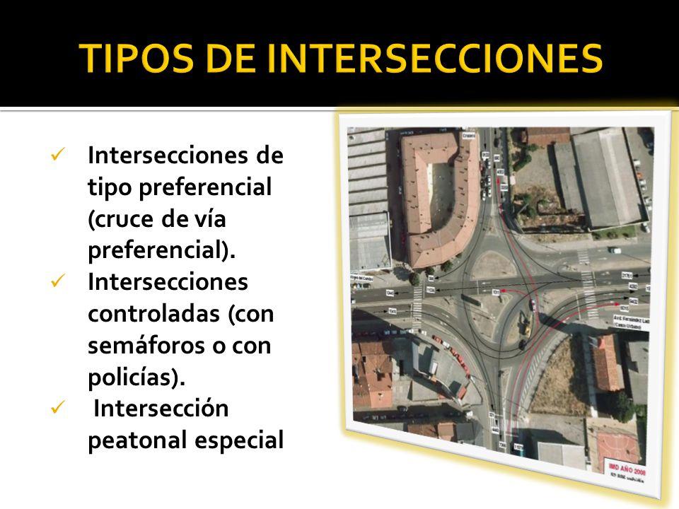 Intersecciones de tipo preferencial (cruce de vía preferencial). Intersecciones controladas (con semáforos o con policías). Intersección peatonal espe