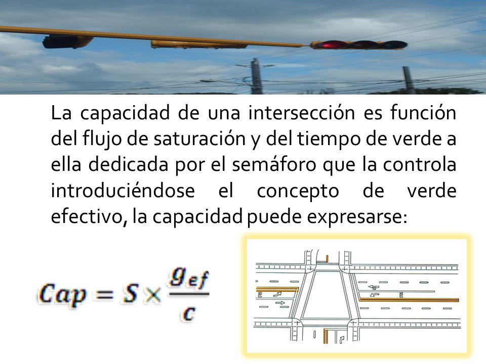 La capacidad de una intersección es función del flujo de saturación y del tiempo de verde a ella dedicada por el semáforo que la controla introduciéndose el concepto de verde efectivo, la capacidad puede expresarse: