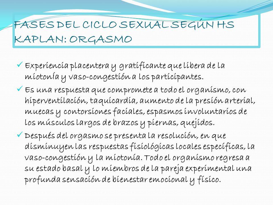 FASES DEL CICLO SEXUAL SEGÚN HS KAPLAN: ORGASMO Experiencia placentera y gratificante que libera de la miotonÍa y vaso-congestión a los participantes.