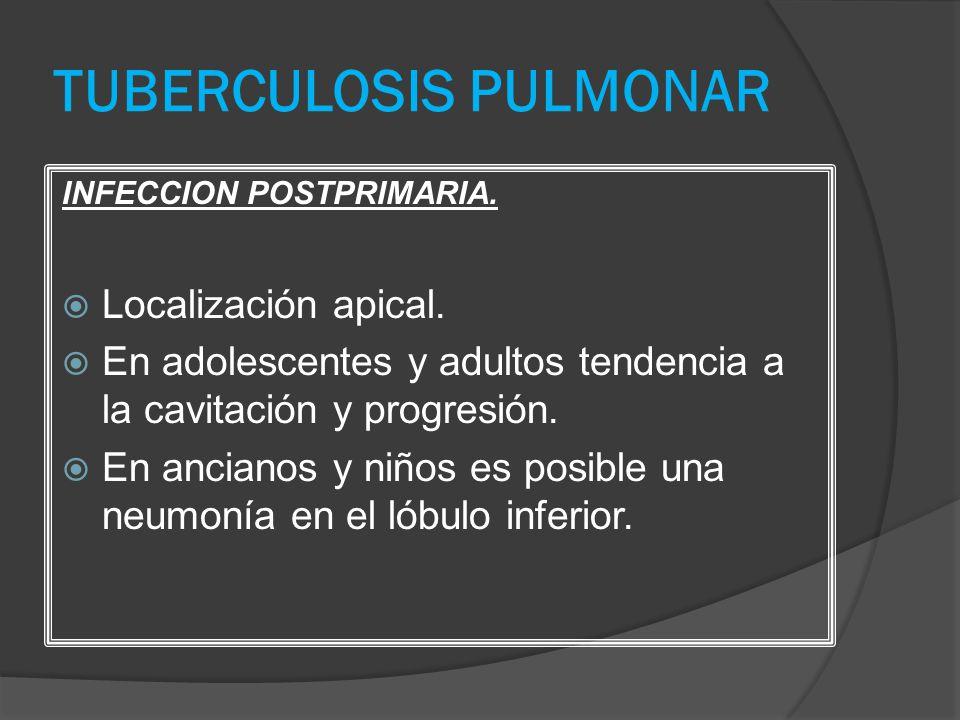 TUBERCULOSIS PULMONAR INFECCION POSTPRIMARIA. Localización apical. En adolescentes y adultos tendencia a la cavitación y progresión. En ancianos y niñ