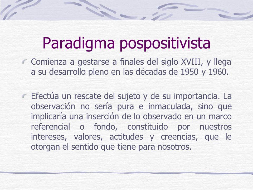 Paradigma pospositivista Comienza a gestarse a finales del siglo XVIII, y llega a su desarrollo pleno en las décadas de 1950 y 1960. Efectúa un rescat