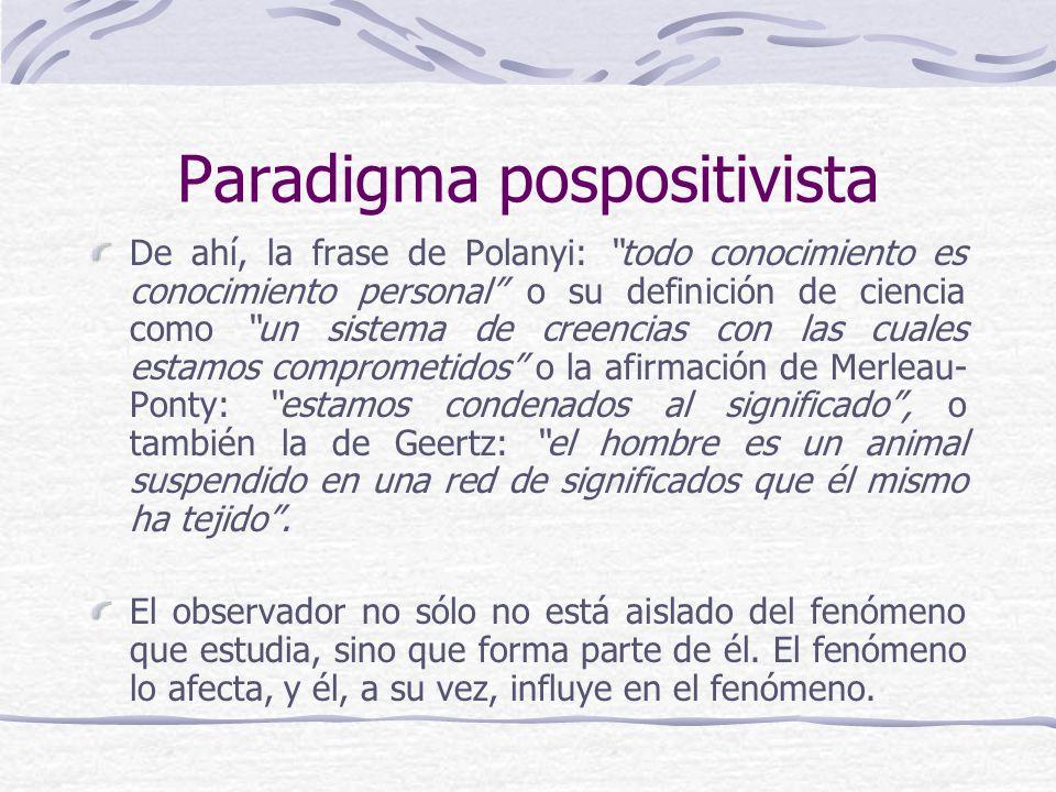 Paradigma pospositivista De ahí, la frase de Polanyi: todo conocimiento es conocimiento personal o su definición de ciencia como un sistema de creencias con las cuales estamos comprometidos o la afirmación de Merleau- Ponty: estamos condenados al significado, o también la de Geertz: el hombre es un animal suspendido en una red de significados que él mismo ha tejido.