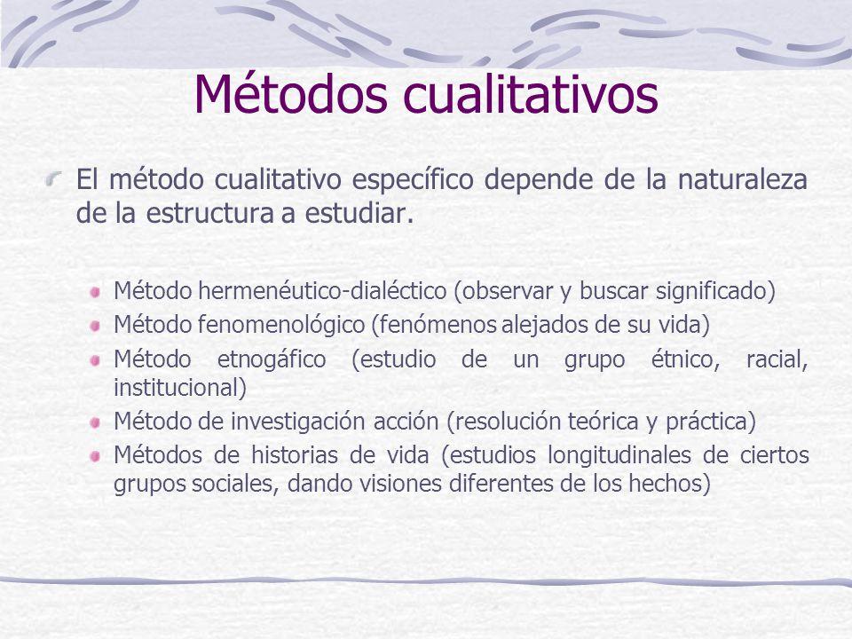 Métodos cualitativos El método cualitativo específico depende de la naturaleza de la estructura a estudiar. Método hermenéutico-dialéctico (observar y