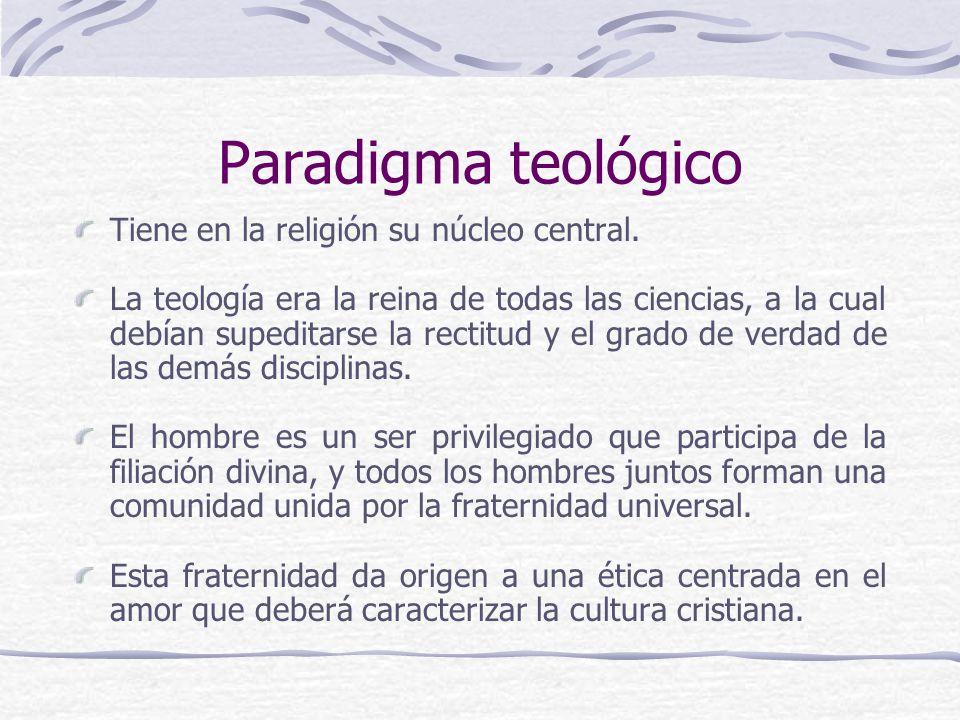 Paradigma teológico Tiene en la religión su núcleo central. La teología era la reina de todas las ciencias, a la cual debían supeditarse la rectitud y