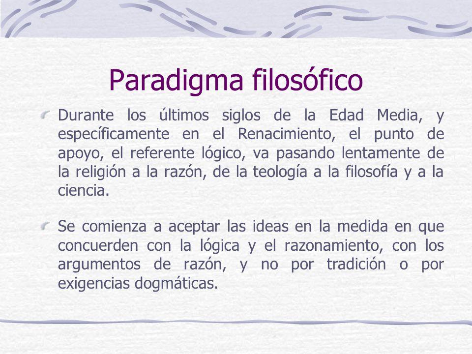 Paradigma filosófico Durante los últimos siglos de la Edad Media, y específicamente en el Renacimiento, el punto de apoyo, el referente lógico, va pasando lentamente de la religión a la razón, de la teología a la filosofía y a la ciencia.