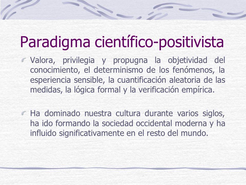 Paradigma científico-positivista Valora, privilegia y propugna la objetividad del conocimiento, el determinismo de los fenómenos, la esperiencia sensible, la cuantificación aleatoria de las medidas, la lógica formal y la verificación empírica.