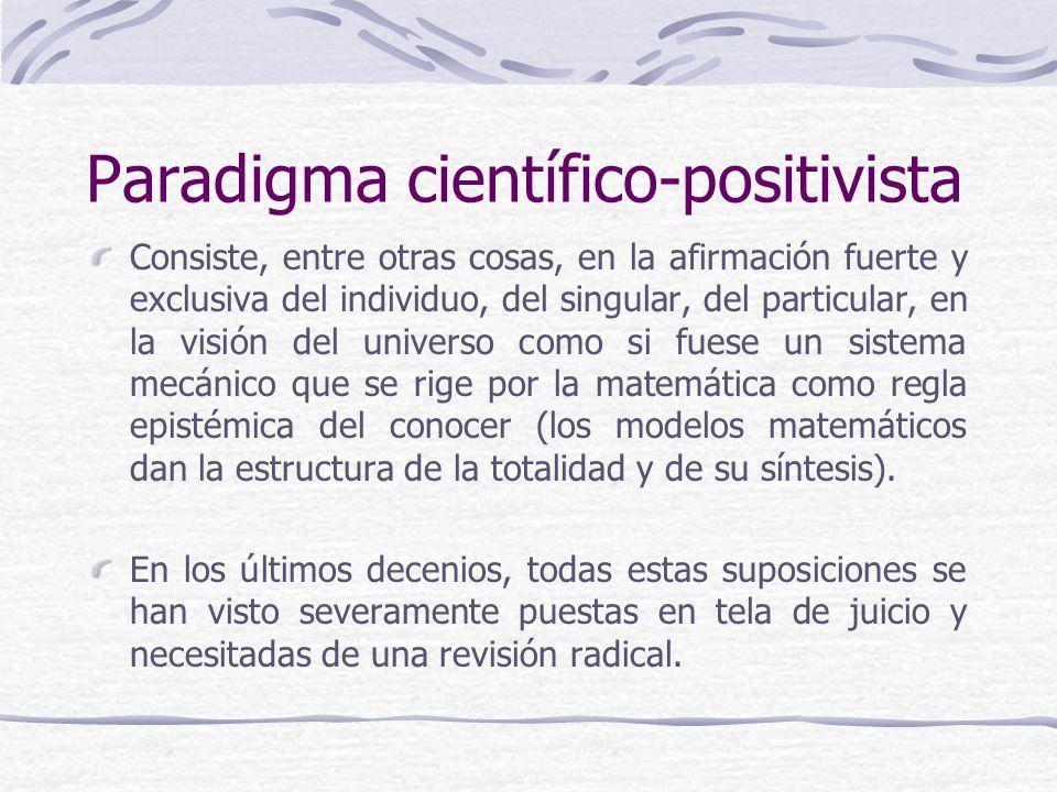 Paradigma científico-positivista Consiste, entre otras cosas, en la afirmación fuerte y exclusiva del individuo, del singular, del particular, en la v