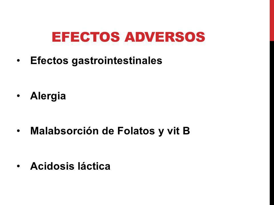 EFECTOS ADVERSOS Efectos gastrointestinales Alergia Malabsorción de Folatos y vit B Acidosis láctica