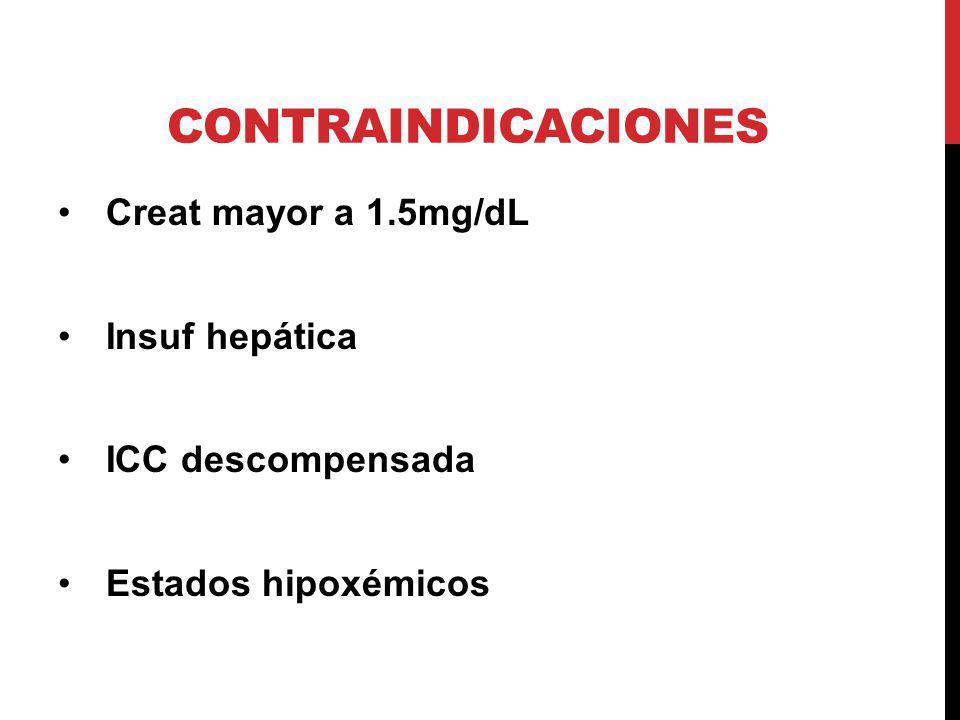 CONTRAINDICACIONES Creat mayor a 1.5mg/dL Insuf hepática ICC descompensada Estados hipoxémicos