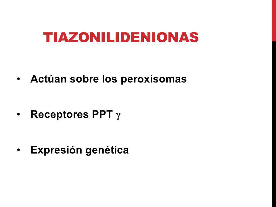 TIAZONILIDENIONAS Actúan sobre los peroxisomas Receptores PPT γ Expresión genética