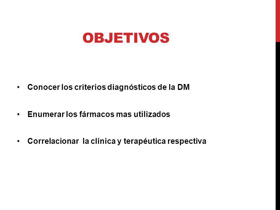 OBJETIVOS Conocer los criterios diagnósticos de la DM Enumerar los fármacos mas utilizados Correlacionar la clínica y terapéutica respectiva