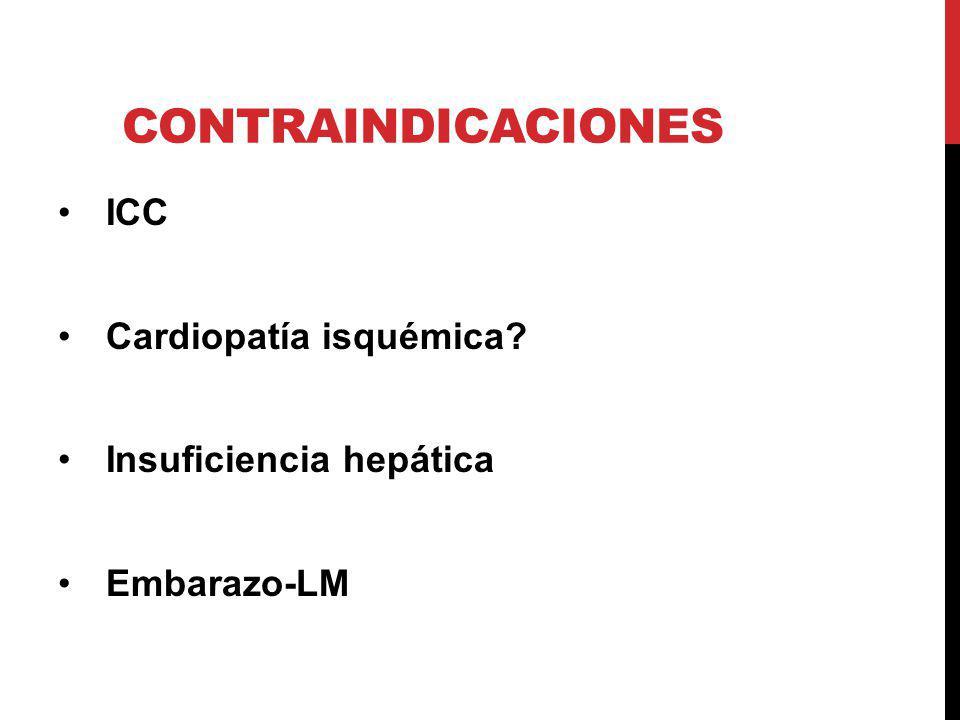 CONTRAINDICACIONES ICC Cardiopatía isquémica? Insuficiencia hepática Embarazo-LM