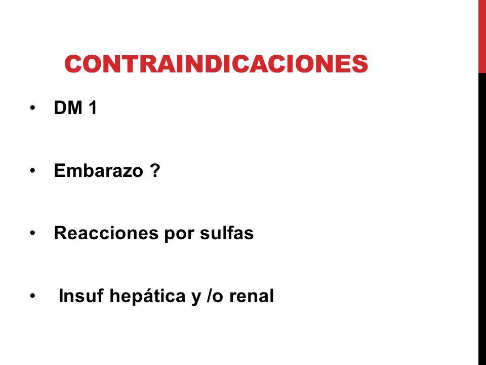 CONTRAINDICACIONES DM 1 Embarazo ? Reacciones por sulfas Insuf hepática y /o renal