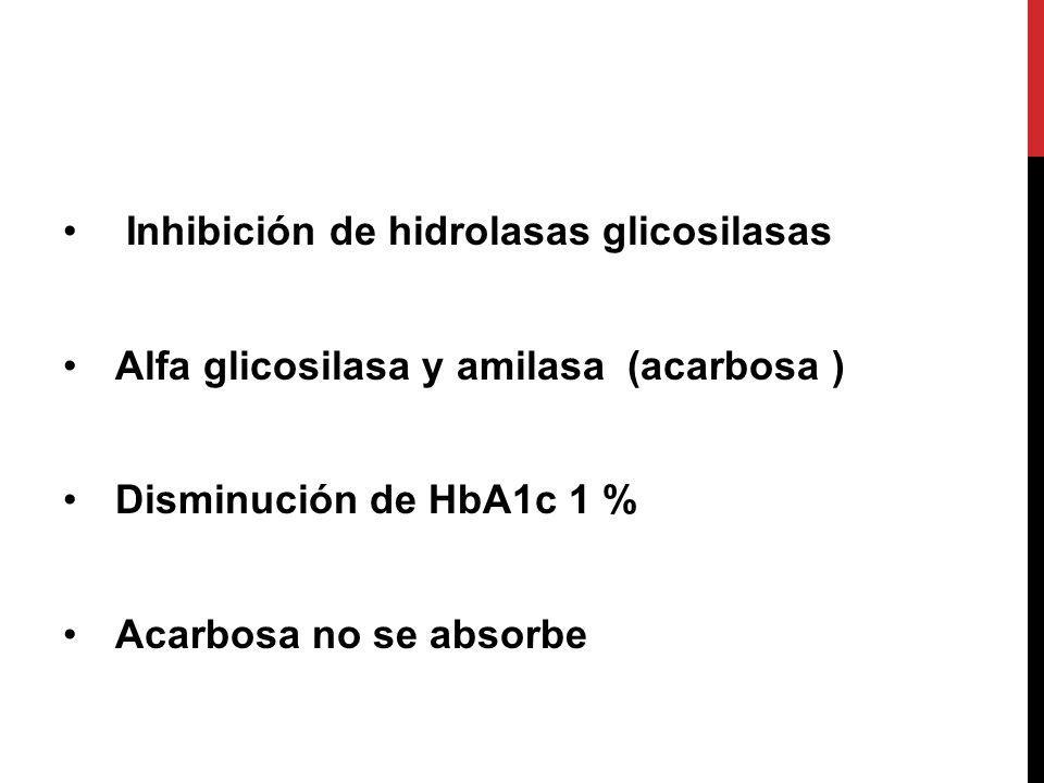 Inhibición de hidrolasas glicosilasas Alfa glicosilasa y amilasa (acarbosa ) Disminución de HbA1c 1 % Acarbosa no se absorbe
