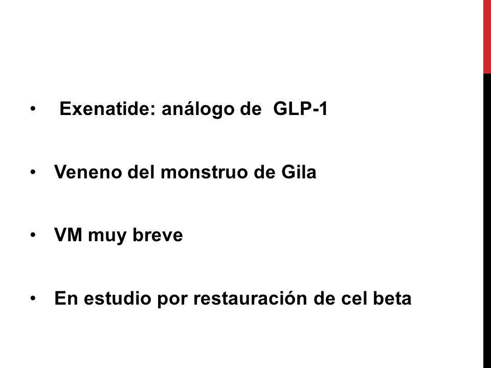 Exenatide: análogo de GLP-1 Veneno del monstruo de Gila VM muy breve En estudio por restauración de cel beta