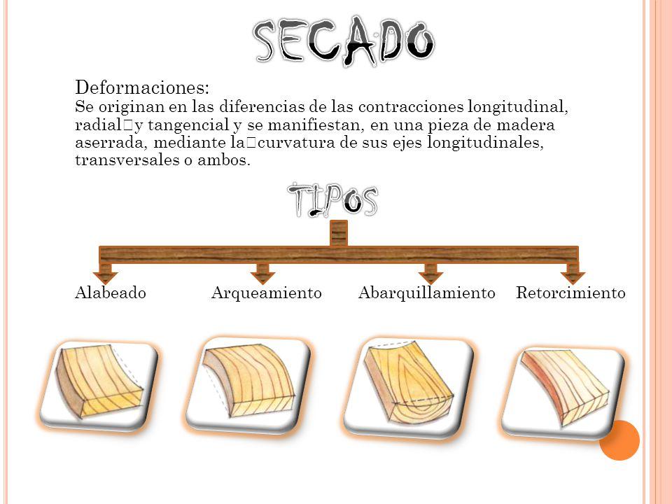 Deformaciones: Se originan en las diferencias de las contracciones longitudinal, radial y tangencial y se manifiestan, en una pieza de madera aserrada, mediante la curvatura de sus ejes longitudinales, transversales o ambos.