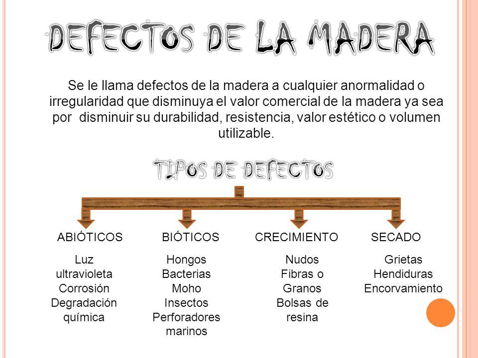 Se le llama defectos de la madera a cualquier anormalidad o irregularidad que disminuya el valor comercial de la madera ya sea por disminuir su durabilidad, resistencia, valor estético o volumen utilizable.