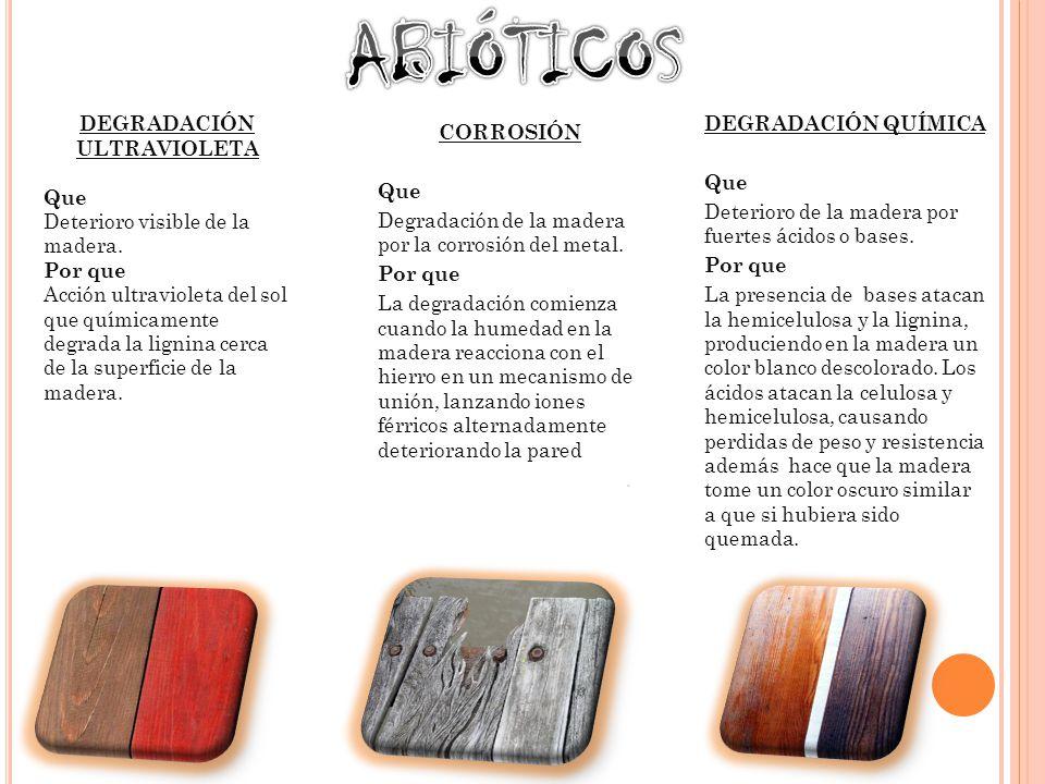 DEGRADACIÓN ULTRAVIOLETA Que Deterioro visible de la madera.