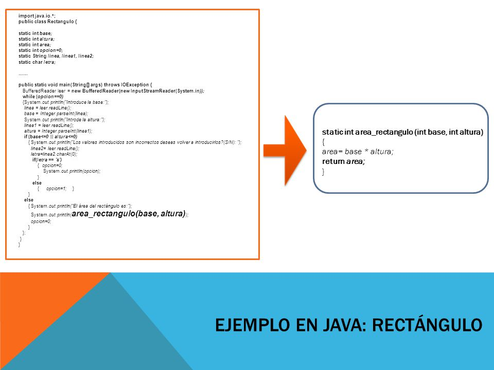 EJEMPLO EN JAVA: RECTÁNGULO import java.io.*; public class Rectangulo { static int base; static int altura; static int area; static int opcion=0; static String linea, linea1, linea2; static char letra; …… public static void main(String[] args) throws IOException { BufferedReader leer = new BufferedReader(new InputStreamReader(System.in)); while (opcion==0) {System.out.println( Introduce la base: ); linea = leer.readLine(); base = Integer.parseInt(linea); System.out.println( Introde la altura: ); linea1 = leer.readLine(); altura = Integer.parseInt(linea1); if (base<=0 || altura<=0) { System.out.println( Los valores introducidos son incorrectos deseas volver a introducirlos?(S/N): ); linea2= leer.readLine(); letra=linea2.charAt(0); if(letra == s ) { opcion=0; System.out.println(opcion); } else { opcion=1; } } else { System.out.println( El área del rectángulo es: ); System.out.println( area_rectangulo(base, altura) ); opcion=0; } }; } static int area_rectangulo (int base, int altura) { area= base * altura; return area; }