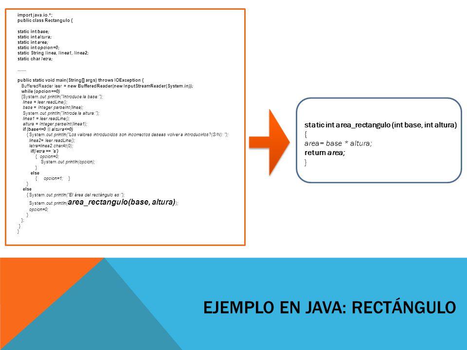 EJEMPLO EN JAVA: CIFRAS import java.io.*; public class Cifras { static int total=0; static int x=0; static int numCifras(int x){ while(x!=0){ x=x/10; total+=1; //incrementamos el contador } return total; } public static void main(String[]args) throws IOException{ //BufferedReader para leer de consola BufferedReader leer = new BufferedReader(new InputStreamReader(System.in)); System.out.println( Introduce un numero: ); //leemos una línea como string String linea = leer.readLine(); /*Convertirmos el string a un número.