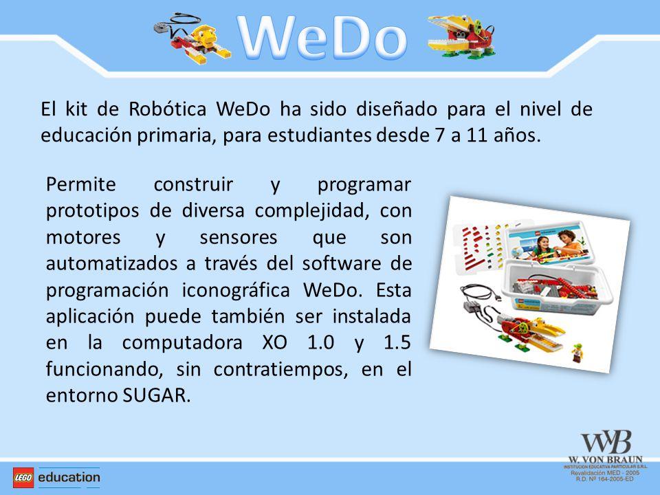 El kit de Robótica WeDo ha sido diseñado para el nivel de educación primaria, para estudiantes desde 7 a 11 años. Permite construir y programar protot
