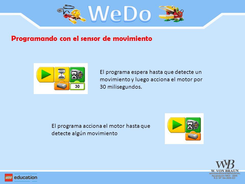 Programando con el sensor de movimiento El programa espera hasta que detecte un movimiento y luego acciona el motor por 30 milisegundos. El programa a