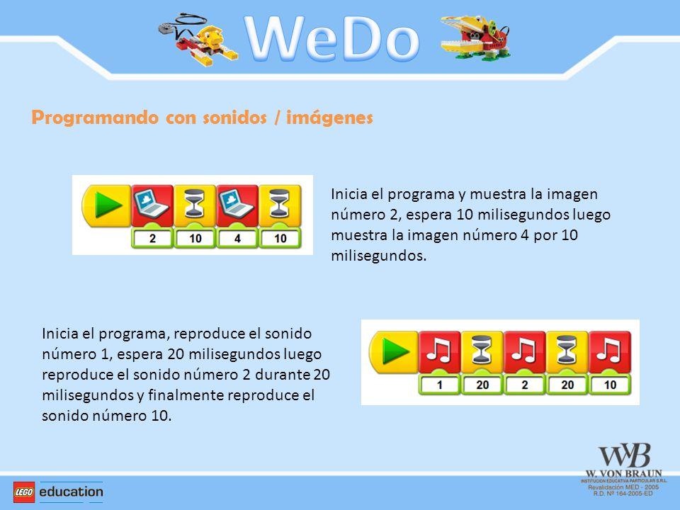 Programando con sonidos / imágenes Inicia el programa y muestra la imagen número 2, espera 10 milisegundos luego muestra la imagen número 4 por 10 mil