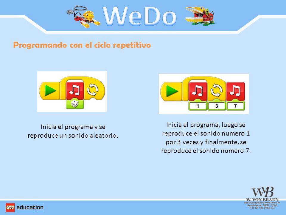 Programando con el ciclo repetitivo Inicia el programa y se reproduce un sonido aleatorio. Inicia el programa, luego se reproduce el sonido numero 1 p