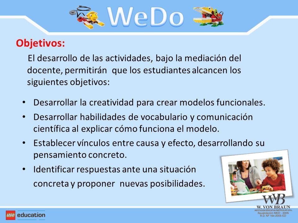 Objetivos: El desarrollo de las actividades, bajo la mediación del docente, permitirán que los estudiantes alcancen los siguientes objetivos: Desarrol