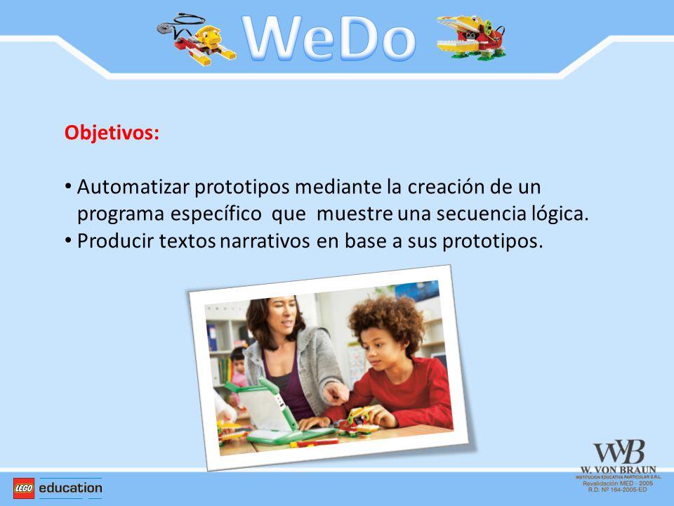 Objetivos: Automatizar prototipos mediante la creación de un programa específico que muestre una secuencia lógica. Producir textos narrativos en base
