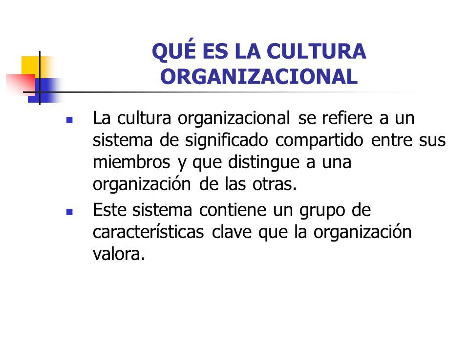QUÉ ES LA CULTURA ORGANIZACIONAL La cultura organizacional se refiere a un sistema de significado compartido entre sus miembros y que distingue a una