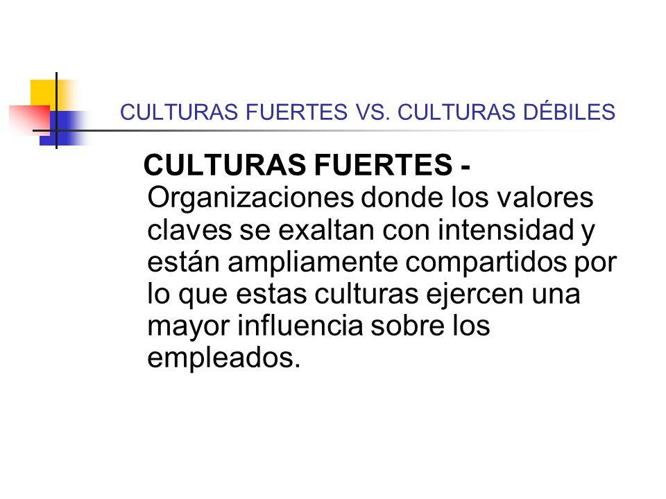 CULTURAS FUERTES VS. CULTURAS DÉBILES CULTURAS FUERTES - Organizaciones donde los valores claves se exaltan con intensidad y están ampliamente compart