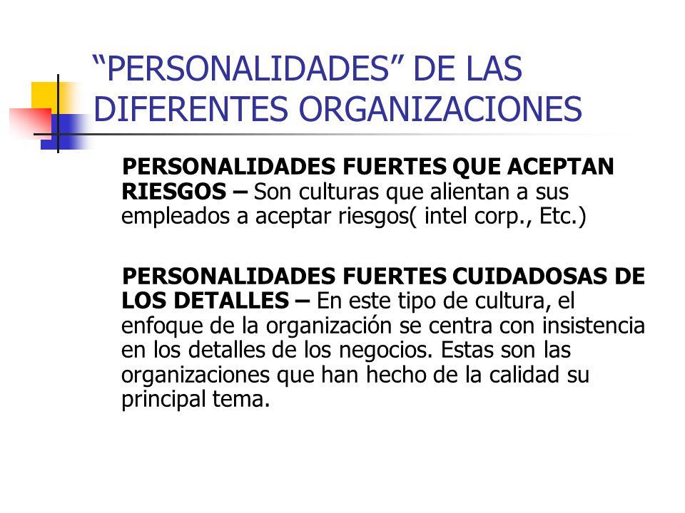 PERSONALIDADES DE LAS DIFERENTES ORGANIZACIONES PERSONALIDADES FUERTES QUE ACEPTAN RIESGOS – Son culturas que alientan a sus empleados a aceptar riesg