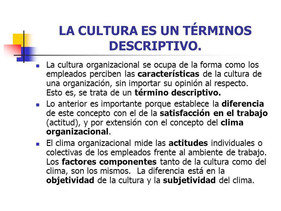 LA CULTURA ES UN TÉRMINOS DESCRIPTIVO. La cultura organizacional se ocupa de la forma como los empleados perciben las características de la cultura de