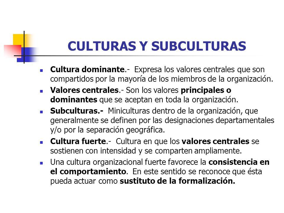 CULTURAS Y SUBCULTURAS Cultura dominante.- Expresa los valores centrales que son compartidos por la mayoría de los miembros de la organización. Valore