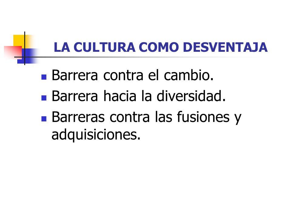 LA CULTURA COMO DESVENTAJA Barrera contra el cambio. Barrera hacia la diversidad. Barreras contra las fusiones y adquisiciones.