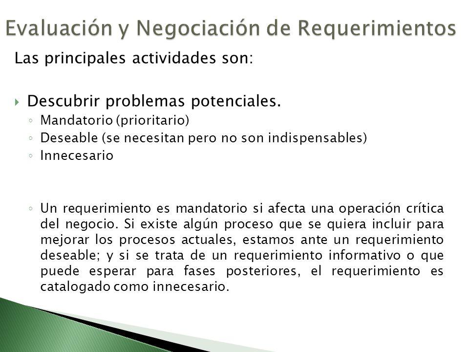 Las principales actividades son: Descubrir problemas potenciales. Mandatorio (prioritario) Deseable (se necesitan pero no son indispensables) Innecesa