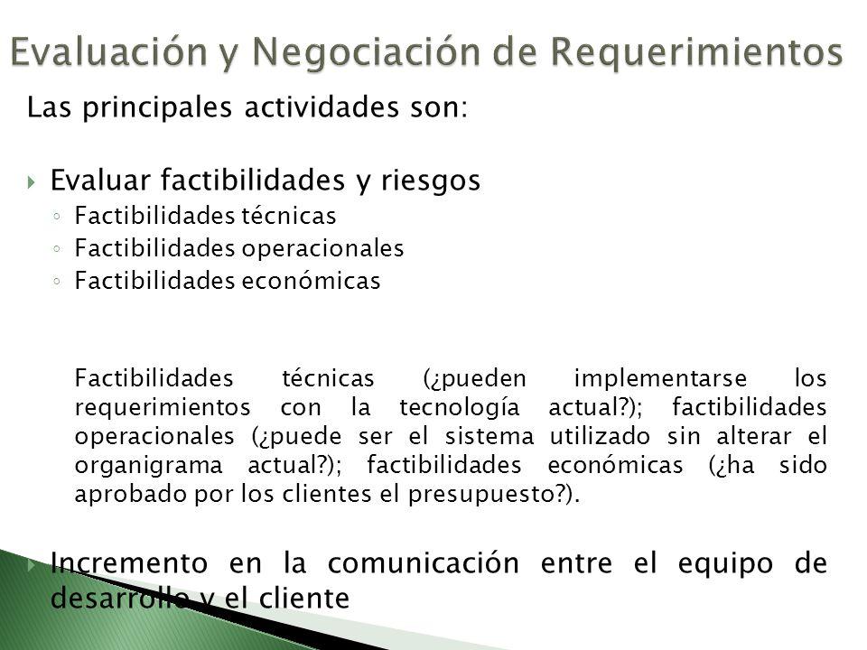 Las principales actividades son: Evaluar factibilidades y riesgos Factibilidades técnicas Factibilidades operacionales Factibilidades económicas Facti