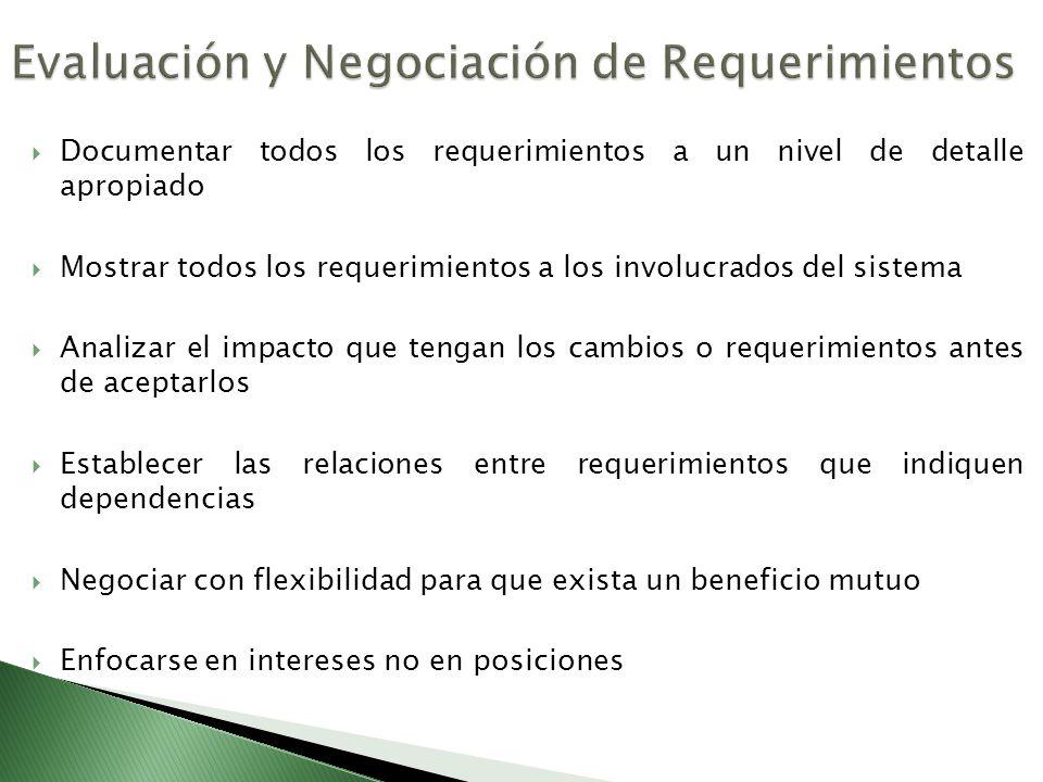 Documentar todos los requerimientos a un nivel de detalle apropiado Mostrar todos los requerimientos a los involucrados del sistema Analizar el impact