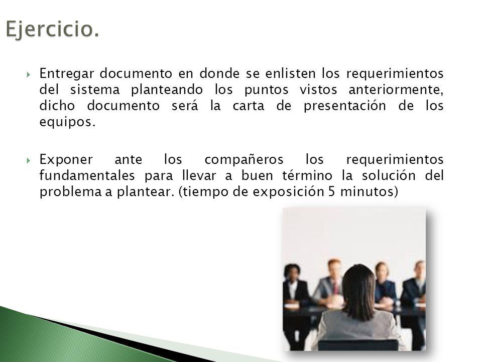 Entregar documento en donde se enlisten los requerimientos del sistema planteando los puntos vistos anteriormente, dicho documento será la carta de pr