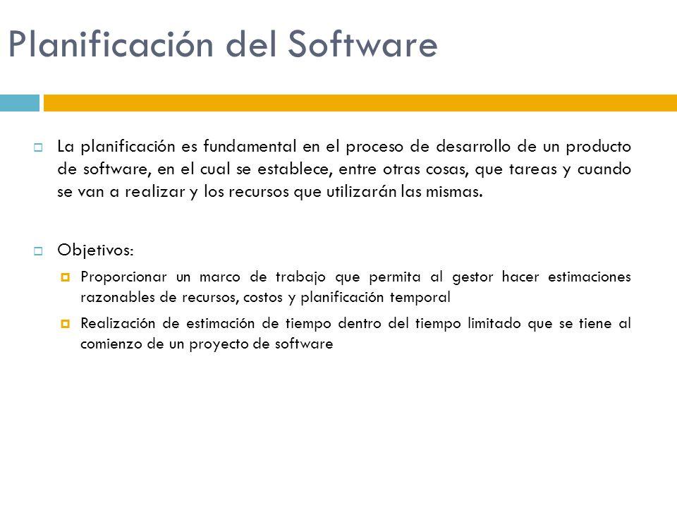 Planificación del Software La planificación es fundamental en el proceso de desarrollo de un producto de software, en el cual se establece, entre otra
