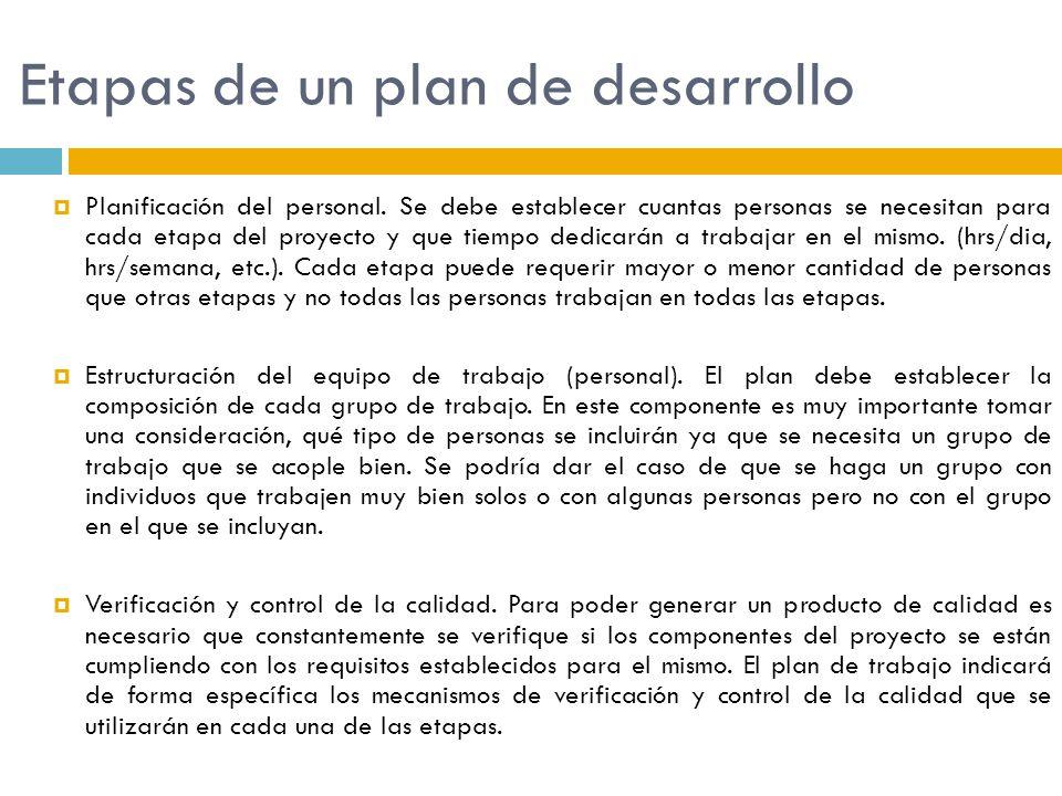 Etapas de un plan de desarrollo Planificación del personal. Se debe establecer cuantas personas se necesitan para cada etapa del proyecto y que tiempo