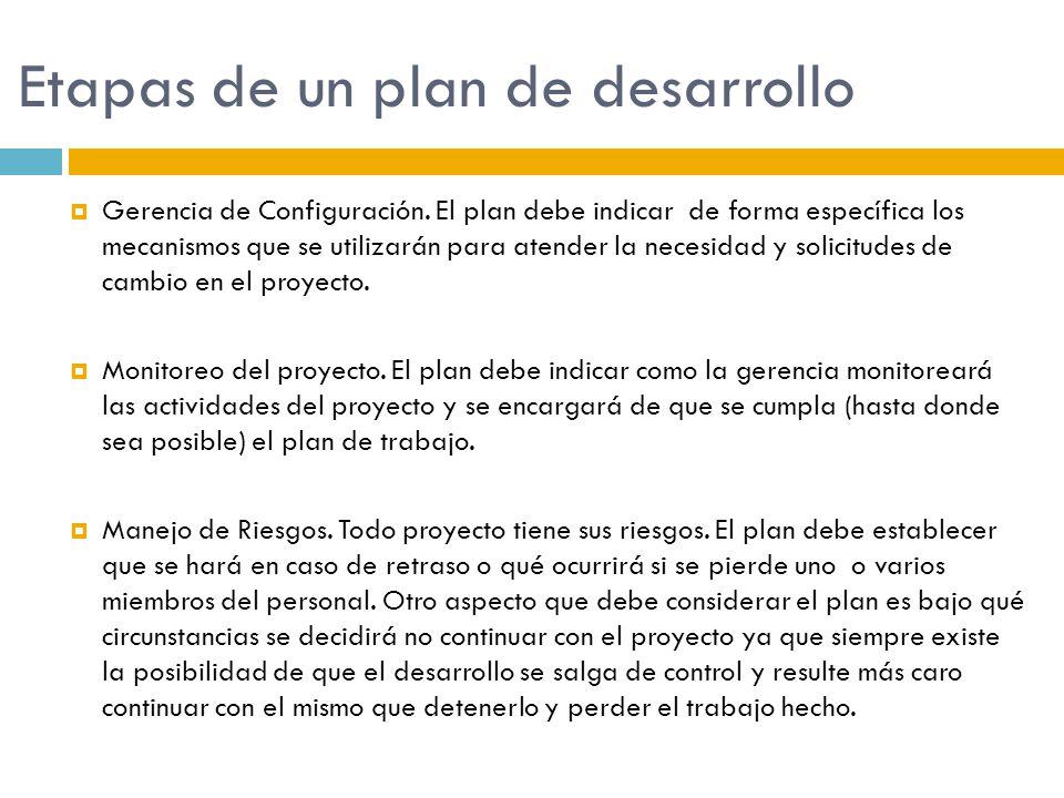 Etapas de un plan de desarrollo Gerencia de Configuración. El plan debe indicar de forma específica los mecanismos que se utilizarán para atender la n