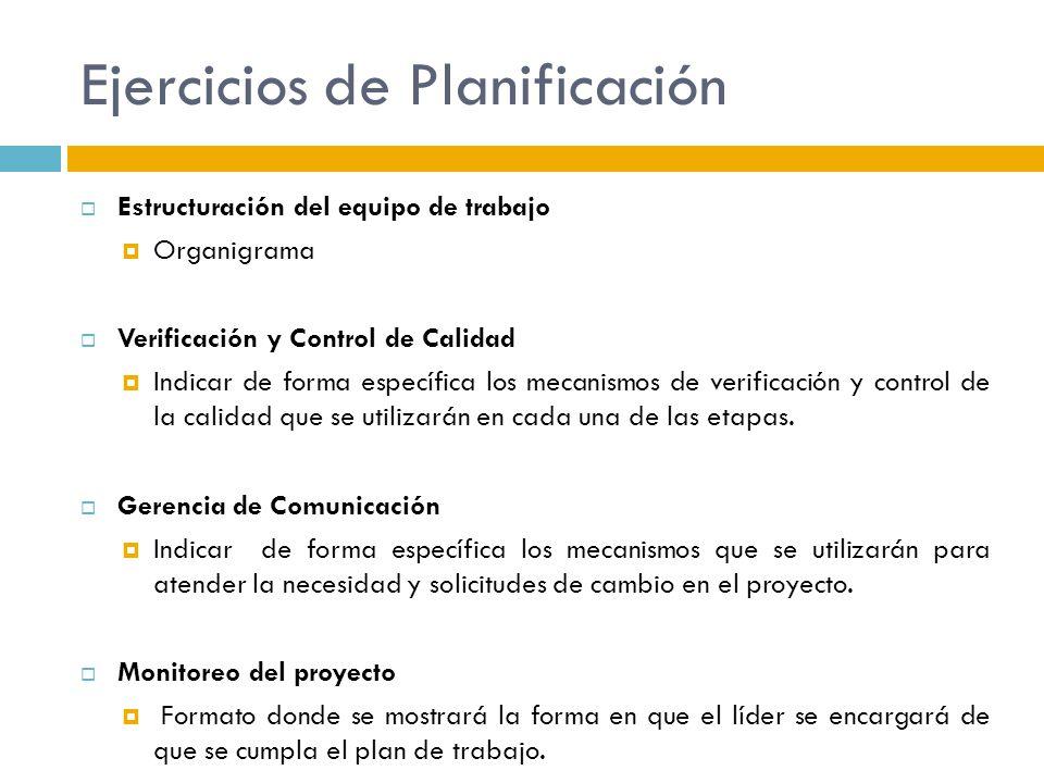 Ejercicios de Planificación Estructuración del equipo de trabajo Organigrama Verificación y Control de Calidad Indicar de forma específica los mecanis