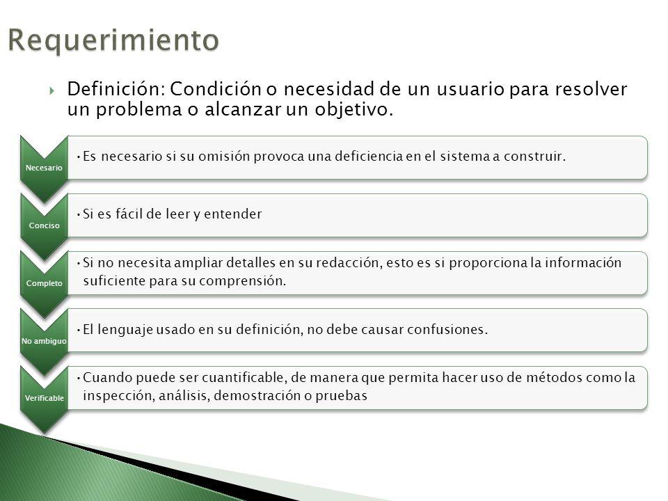 Definición: Condición o necesidad de un usuario para resolver un problema o alcanzar un objetivo. Necesario Es necesario si su omisión provoca una def