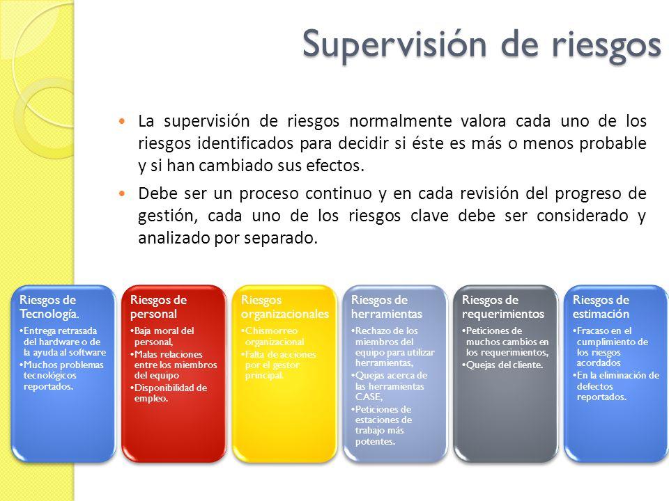 Supervisión de riesgos La supervisión de riesgos normalmente valora cada uno de los riesgos identificados para decidir si éste es más o menos probable