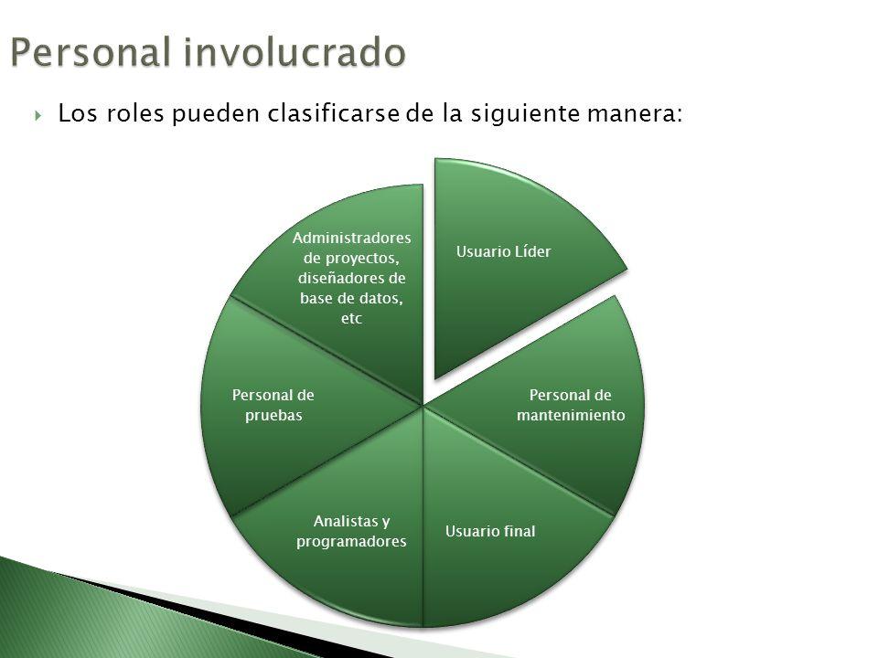 Los roles pueden clasificarse de la siguiente manera: Usuario Líder Personal de mantenimiento Usuario final Analistas y programadores Personal de prue