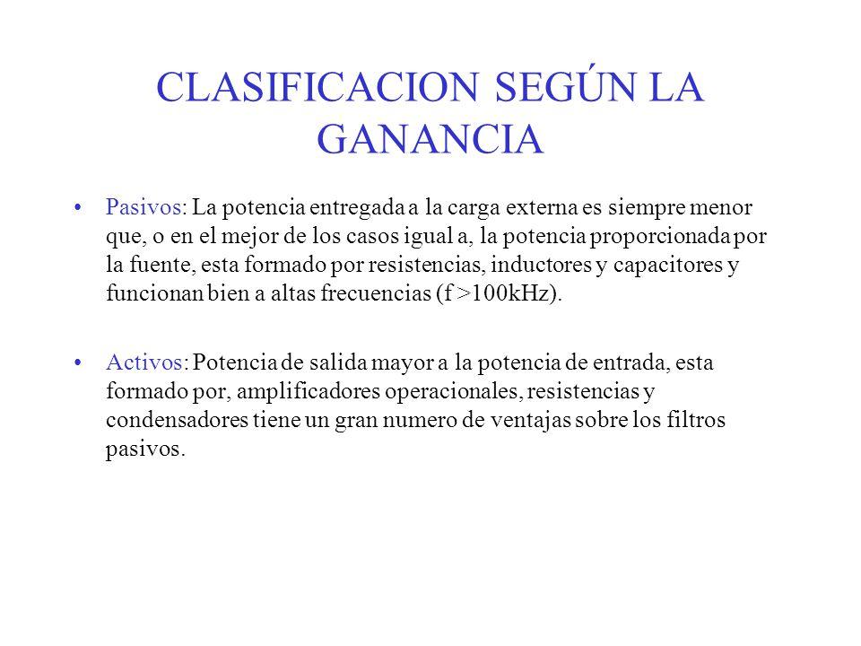 CLASIFICACION SEGÚN LA GANANCIA Pasivos: La potencia entregada a la carga externa es siempre menor que, o en el mejor de los casos igual a, la potenci